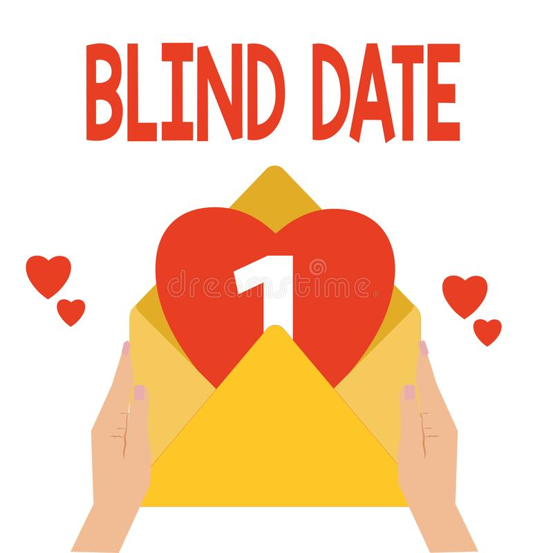 Word writing text Blind Date. Business concept for Social engagement with a demonstrating one has not previously met.  vector illustration