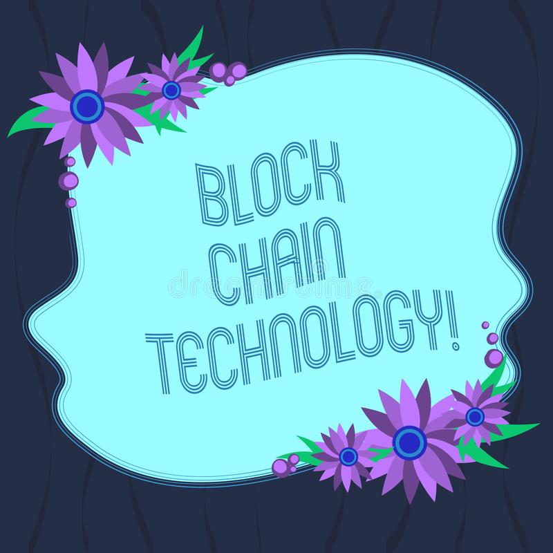 Word writing text Block Chain Technology. Business concept for Digital ledger stored in a distributed network Blank Uneven Color royalty free illustration