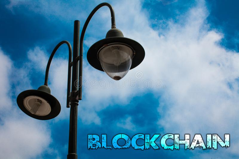 Word writing text Blockchain. Business concept for Register Log Financial Statement Digital Data Technology Record Light post blue stock image