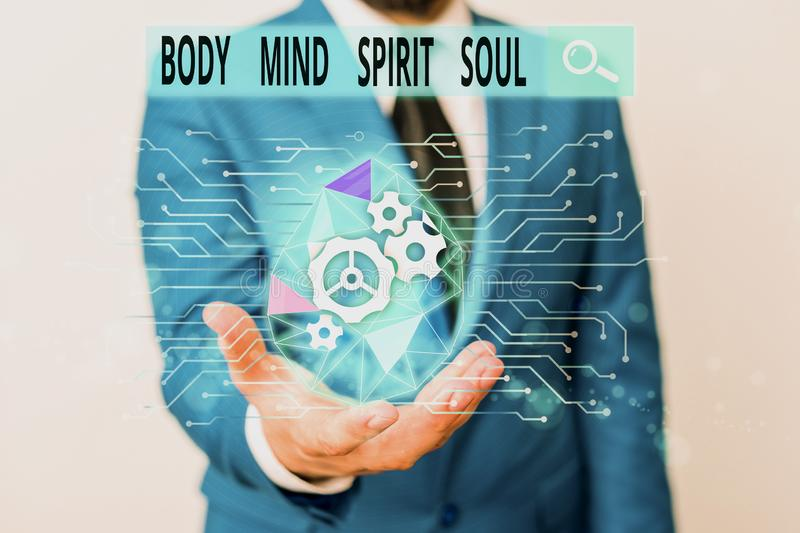 Word writing text Body Mind Spirit Soul. Business concept for Personal Balance Therapy Conciousness state of mind Male. Word writing text Body Mind Spirit Soul royalty free stock photography