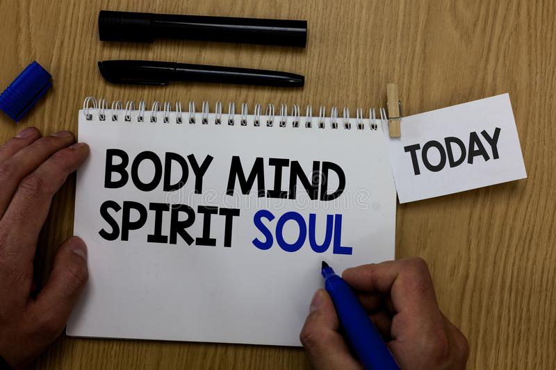 Word writing text Body Mind Spirit Soul. Business concept for Personal Balance Therapy Conciousness state of mind Hand hold pen no stock image