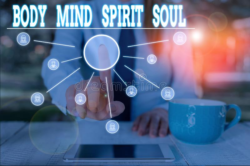 Word writing text Body Mind Spirit Soul. Business concept for Personal Balance Therapy Conciousness state of mind Woman. Word writing text Body Mind Spirit Soul royalty free stock photos