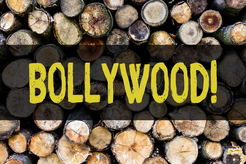 Word writing text Bollywood. Business concept for Hollywood Movie Film Entertainment Cinema Wooden background vintage. Word writing text Bollywood. Business royalty free stock photography