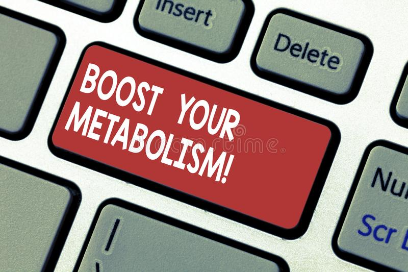 Word writing text Boost Your Metabolism. Business concept for Speeding up the breakdown of food calorie intake Keyboard. Key Intention to create computer royalty free stock image