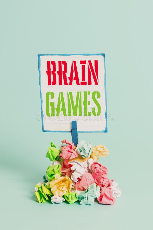 Word writing text Brain Games. Business concept for psychological tactic to analysisipulate or intimidate with opponent. Word writing text Brain Games. Business royalty free stock images