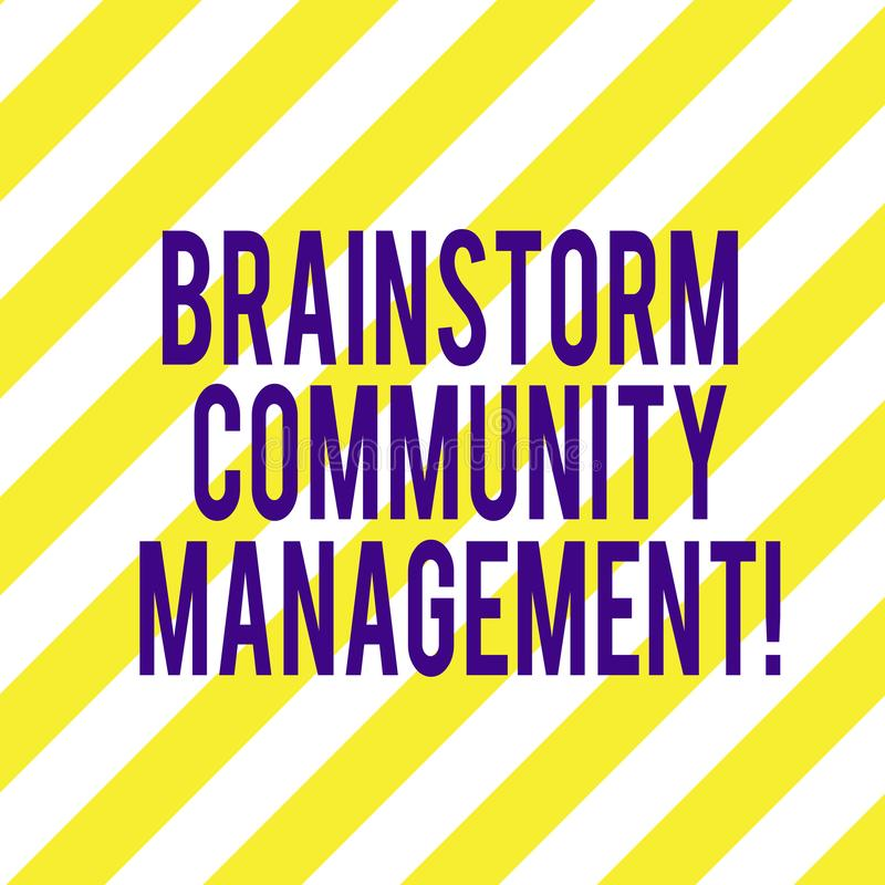 Word writing text Brainstorm Community Management. Business concept for Organizing and suggesting business strategy Diagonal. Twotone Lines photo Forming royalty free stock image
