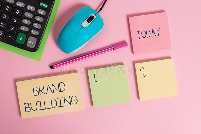 Word writing text Brand Building. Business concept for Generating awareness Establishing and promoting company Blank. Word writing text Brand Building. Business stock images