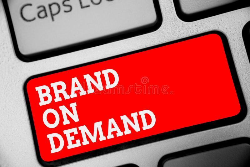 Word writing text Brand On Demand. Business concept for Intelligence needed Smart thinking Support Assistance Keyboard red key Int vector illustration