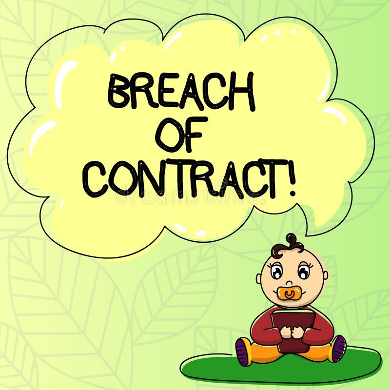 Word writing text Breach Of Contract. Business concept for act of breaking the terms set out in deal or agreement Baby. Sitting on Rug with Pacifier Book and stock illustration