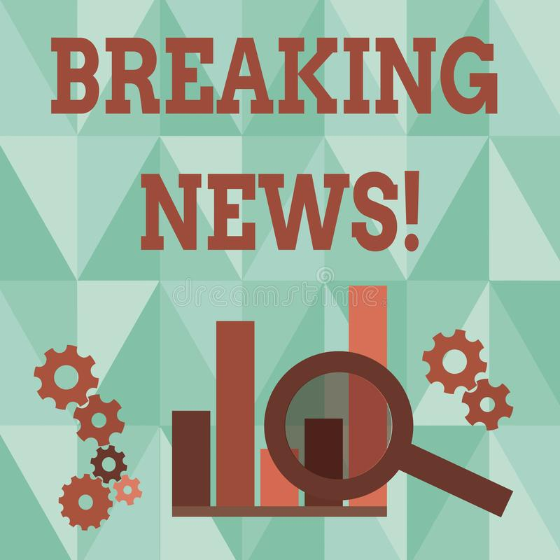 Word writing text Breaking News. Business concept for Newly received info about an event and currently occurring. Word writing text Breaking News. Business photo vector illustration