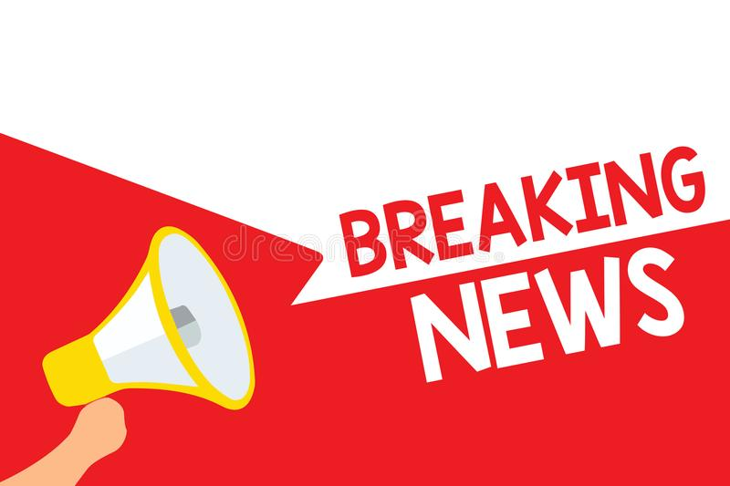Word writing text Breaking News. Business concept for Special Report Announcement Happening Current Issue Flashnews Megaphone loud. Speaker speech bubbles vector illustration