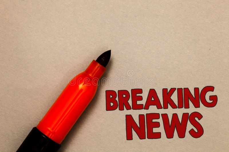 Word writing text Breaking News. Business concept for Special Report Announcement Happening Current Issue Flashnews Open red marke stock image