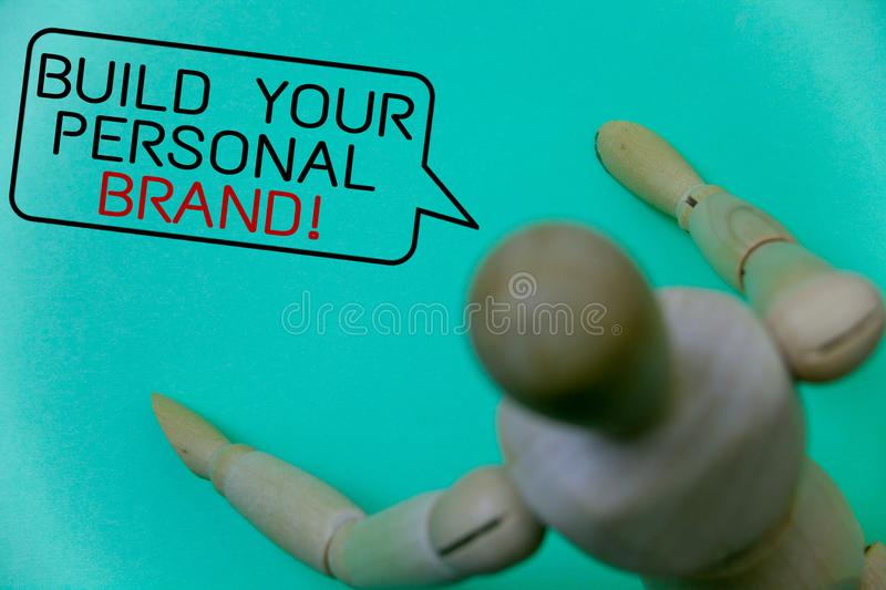 Word writing text Build Your Personal Brand Motivational Call. Business concept for creating successful company Cyan background ro. Bot imaginations idea message stock photo