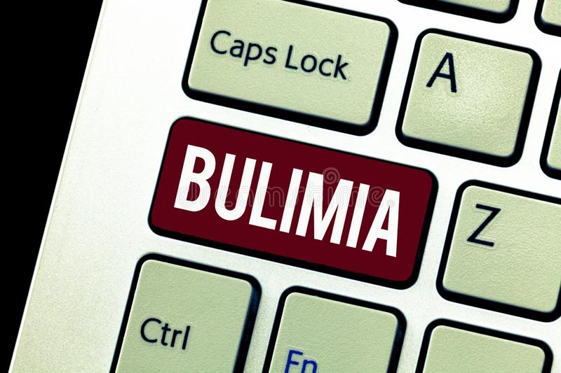 Word writing text Bulimia. Business concept for Extreme obsession of getting overweight Emotional disorder.  royalty free stock image