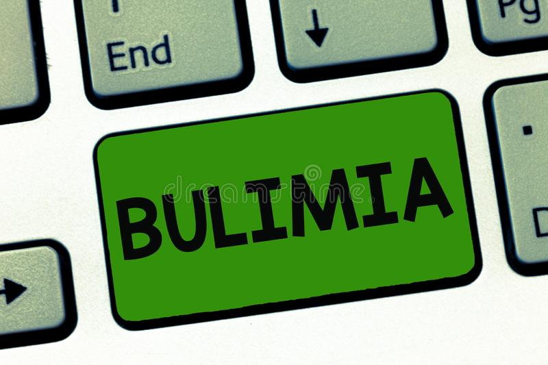 Word writing text Bulimia. Business concept for Extreme obsession of getting overweight Emotional disorder.  royalty free stock photo