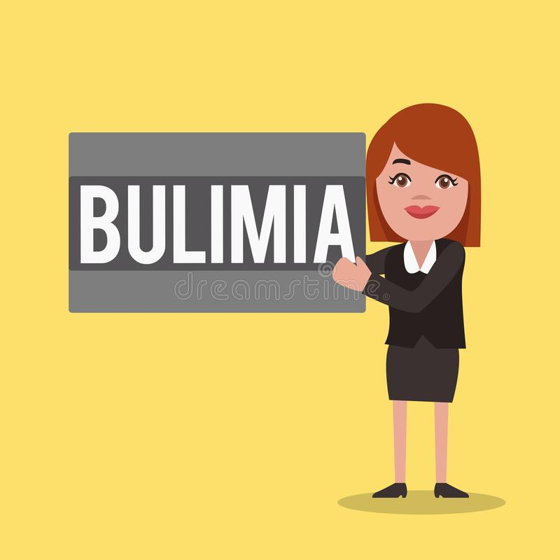 Word writing text Bulimia. Business concept for Extreme obsession of getting overweight Emotional disorder.  vector illustration