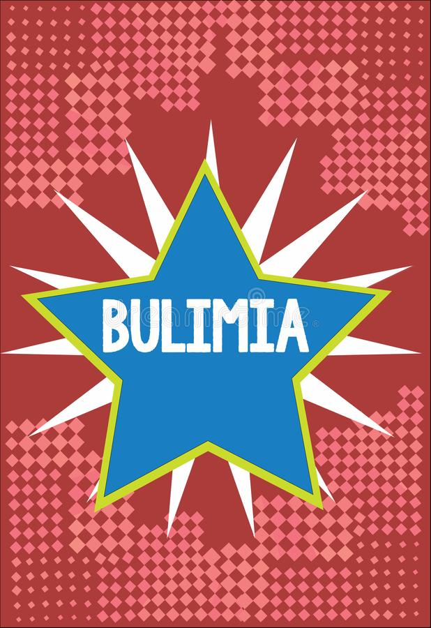 Word writing text Bulimia. Business concept for Extreme obsession of getting overweight Emotional disorder.  royalty free illustration