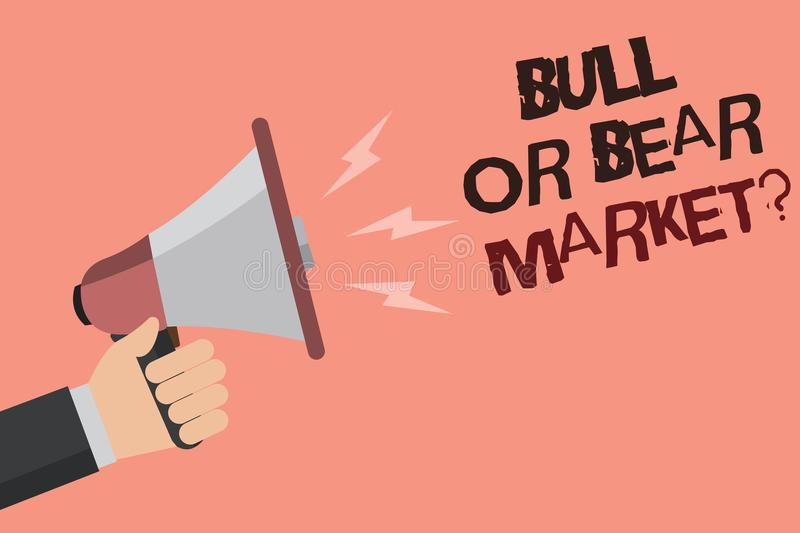 Word writing text Bull Or Bear Market question. Business concept for asking someone about his marketing method Convey message reca stock illustration