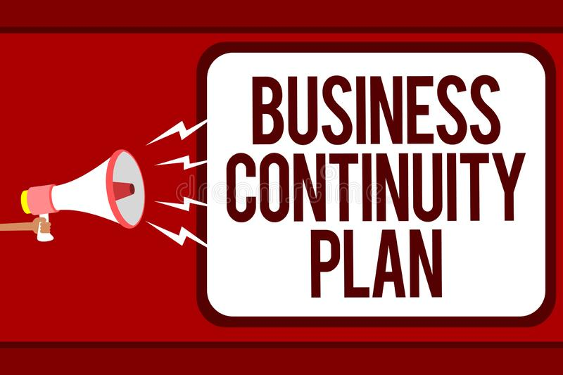 Word writing text Business Continuity Plan. Business concept for creating systems prevention deal potential threats Man. Holding megaphone loudspeaker speech vector illustration