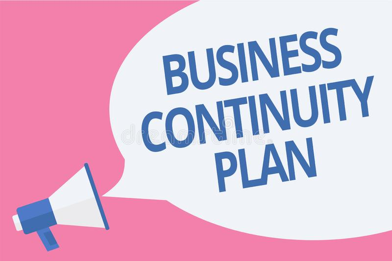 Word writing text Business Continuity Plan. Business concept for creating systems prevention deal potential threats. Megaphone loudspeaker speech bubble vector illustration