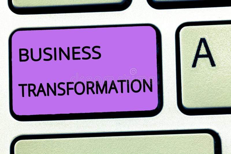 Word writing text Business Transformation. Business concept for Align their Trade models with Strategy Improvement.  royalty free stock images