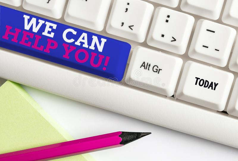 Word writing text We Can Help You. Business concept for offering good assistance to customers or friends White pc. Word writing text We Can Help You. Business stock photography