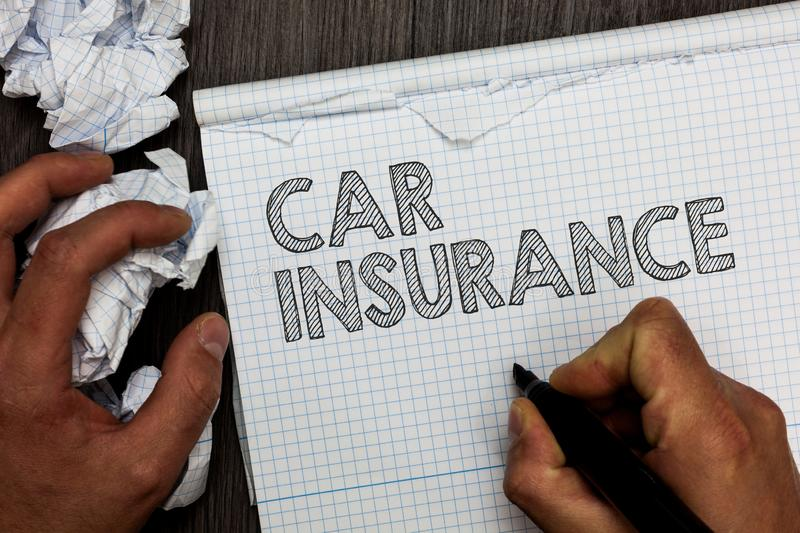 Word writing text Car Insurance. Business concept for Accidents coverage Comprehensive Policy Motor Vehicle Guaranty Man. Holding marker notebook crumpled stock photography