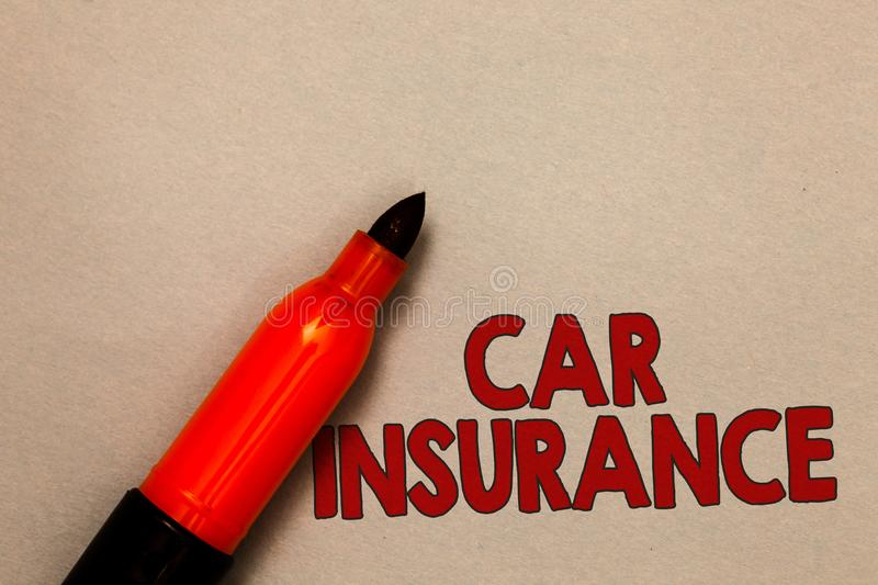 Word writing text Car Insurance. Business concept for Accidents coverage Comprehensive Policy Motor Vehicle Guaranty Open red mark. Er intention communicating stock image