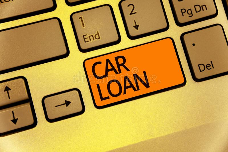 Word writing text Car Loan. Business concept for taking money from bank with big interest to buy new vehicle Keyboard orange key I. Ntention create computer royalty free stock images