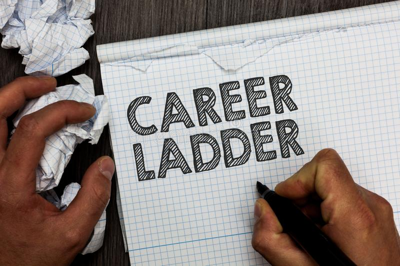 Word writing text Career Ladder. Business concept for Job Promotion Professional Progress Upward Mobility Achiever Man holding mar. Ker notebook crumpled papers stock photo