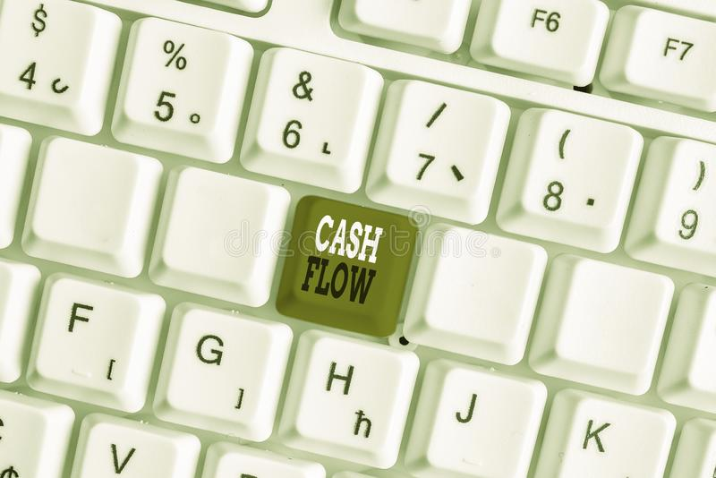 Word writing text Cash Flow. Business concept for Movement of the money in and out affecting the liquidity White pc. Word writing text Cash Flow. Business photo royalty free stock photos