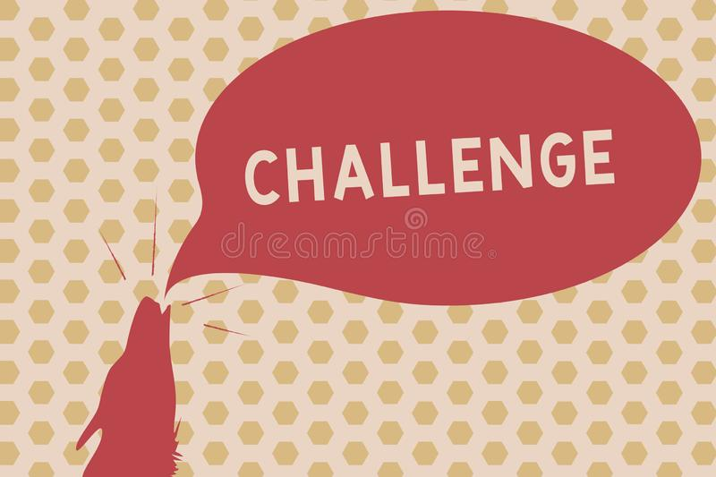 Word writing text Challenge. Business concept for call to someone to participate in competitive situation Beat Contour shape of royalty free illustration