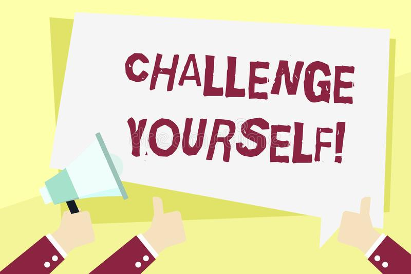 Word writing text Challenge Yourself. Business concept for Overcome Confidence Strong Encouragement Improvement Dare. Word writing text Challenge Yourself royalty free illustration