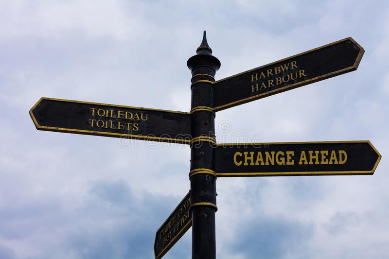 Word writing text Change Ahead. Business concept for to replace with or exchange for another Become different Road sign stock photo