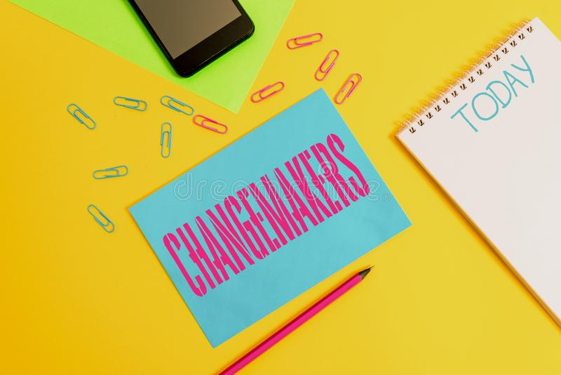Word writing text Changemakers. Business concept for Young Turk Influencers Acitivists Urbanization Fashion Gen X Blank spiral. Word writing text Changemakers royalty free stock images