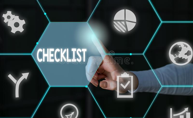 Word writing text Checklist. Business concept for List down of the detailed activity as guide of doing something Male. Word writing text Checklist. Business stock photos