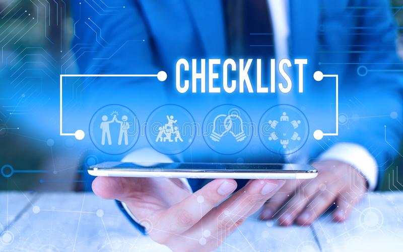 Word writing text Checklist. Business concept for List down of the detailed activity as guide of doing something Male. Word writing text Checklist. Business stock photo