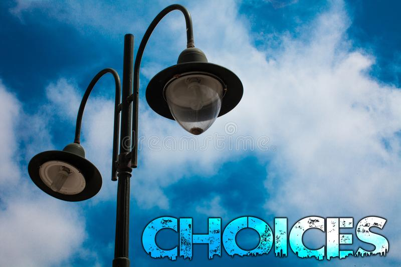 Word writing text Choices. Business concept for Preference Discretion Inclination Distinguish Options Selection Light post blue cl. Oudy clouds sky ideas message stock photography