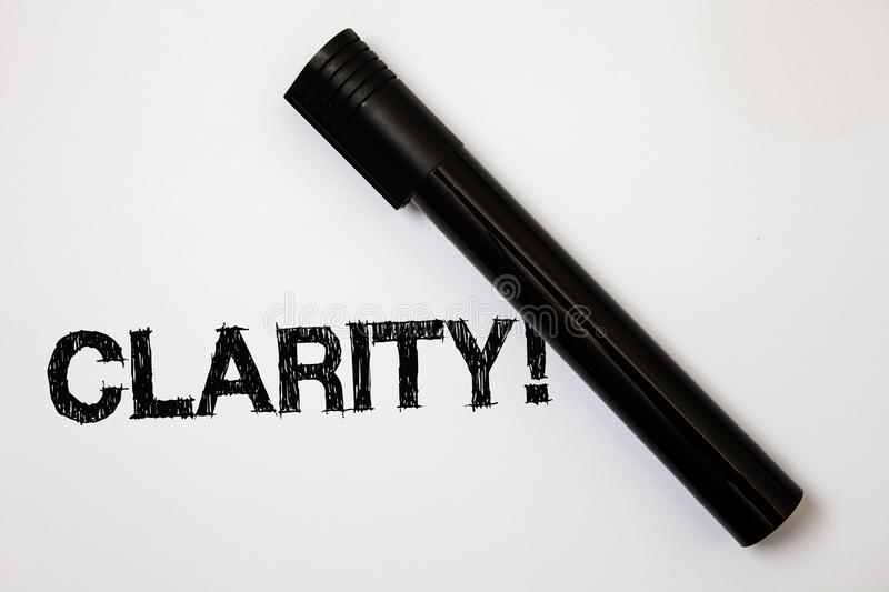Word writing text Clarity. Business concept for Certainty Precision Purity Comprehensibility Transparency Accuracy Ideas messages. White background black marker royalty free stock photography