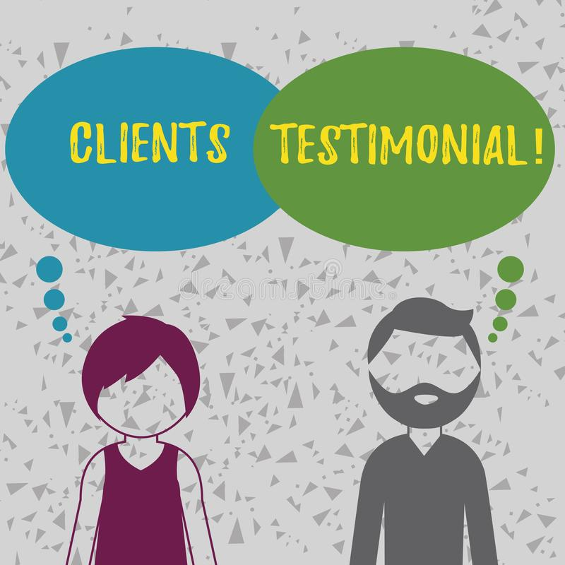 Word writing text Clients Testimonial. Business concept for Customers Personal Experiences Reviews Opinions Feedback. Word writing text Clients Testimonial royalty free illustration