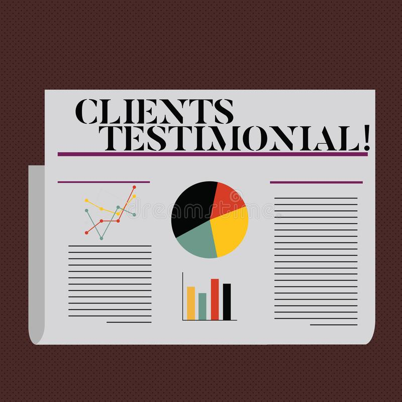 Word writing text Clients Testimonial. Business concept for Customers Personal Experiences Reviews Opinions Feedback. Word writing text Clients Testimonial stock illustration