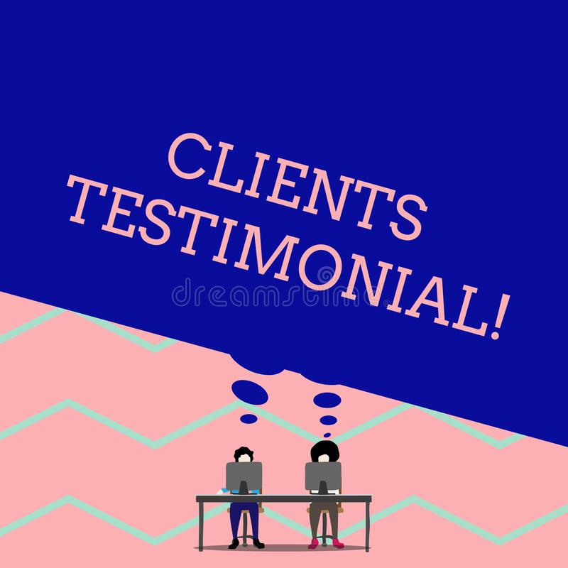Word writing text Clients Testimonial. Business concept for Formal Statement Testifying Candid Endorsement by Others Man. Word writing text Clients Testimonial royalty free illustration