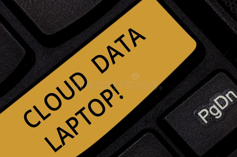Word writing text Cloud Data Laptop. Business concept for datacenter full of servers that is connected to Internet royalty free stock images