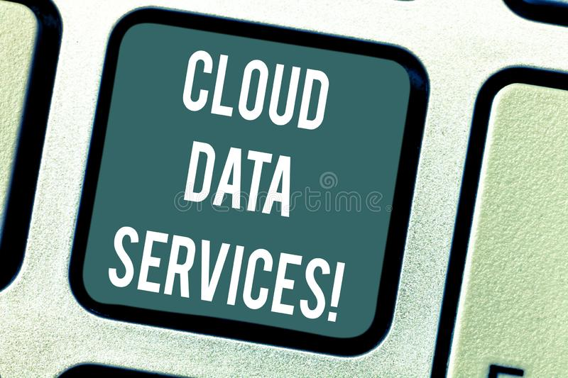 Word writing text Cloud Data Services. Business concept for enables data access on deanalysisd users regardless location. Keyboard key Intention to create royalty free stock photo