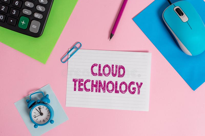 Word writing text Cloud Technology. Business concept for storing and accessing data and programs over Internet Mouse. Word writing text Cloud Technology stock photography