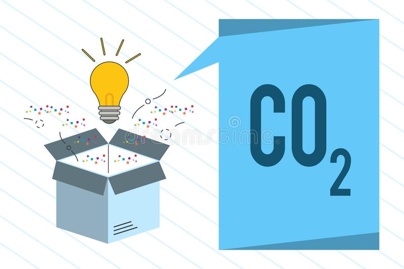 Word writing text Co2. Business concept for Noncombustible greenhouse gas that contributes to global warming.  stock illustration