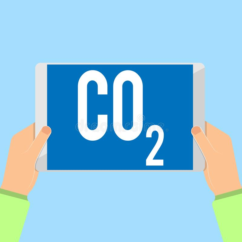 Word writing text Co2. Business concept for Noncombustible greenhouse gas that contributes to global warming.  royalty free illustration