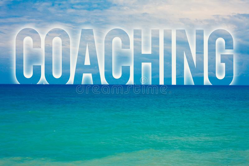 Word writing text Coaching. Business concept for Prepare Enlightened Cultivate Sharpening Encourage Strenghten Blue beach water cl. Oudy clouds sky natural scene stock images