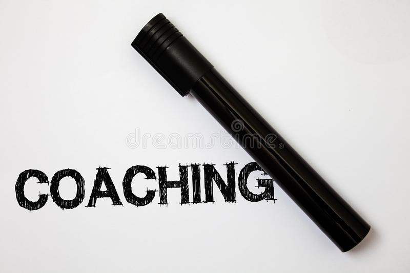 Word writing text Coaching. Business concept for Prepare Enlightened Cultivate Sharpening Encourage Strenghten Ideas messages whit. E background black marker royalty free stock images