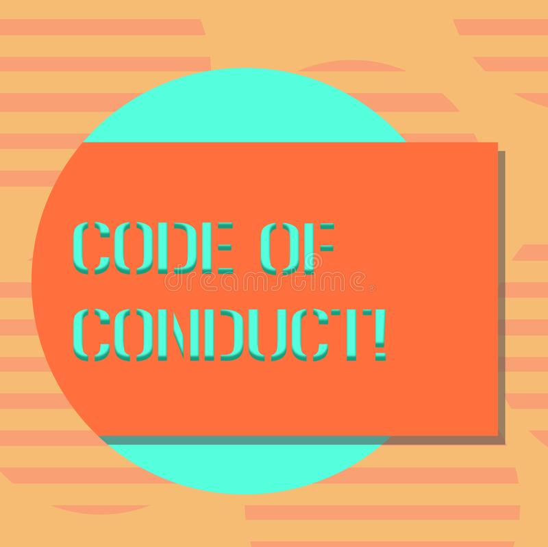 Word writing text Code Of Conduct. Business concept for Ethics rules moral codes ethical principles values respect Blank. Rectangular Color Shape with Shadow stock illustration
